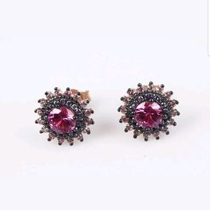 Ruby & Amethyst rose gold red sun earring studs